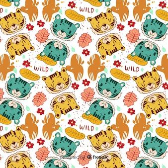 Lovely hand drawn tiger pattern