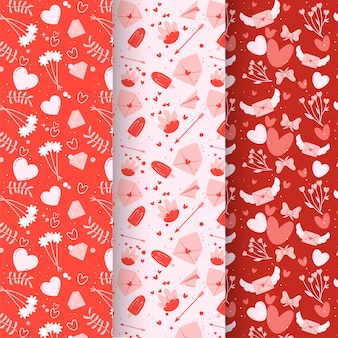 Lovely hand drawn valentine's day patterns pack
