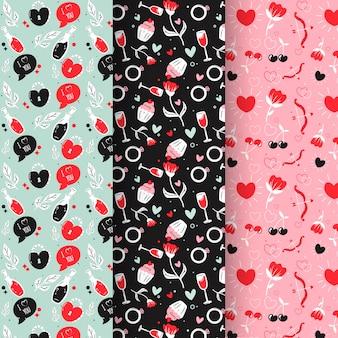 Lovely hand drawn valentine's day patterns
