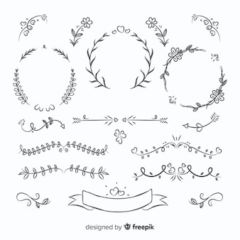 Lovely hand drawn wedding ornament collection