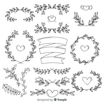 Lovely hand drawn wedding ornament pack