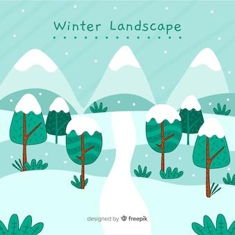 Lovely hand drawn winter landscape