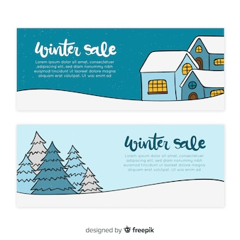 Lovely hand drawn winter sale banners