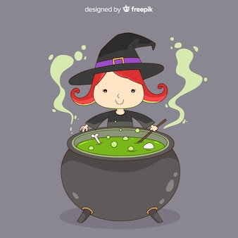 Lovely hand drawn witch character