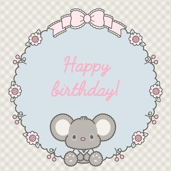 Lovely happy birthday frame with baby mouse premium vector