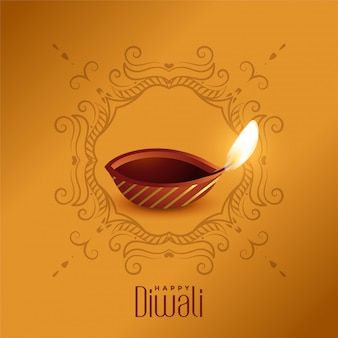 Lovely happy diwali diya design template