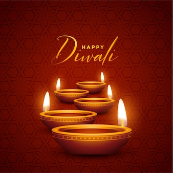 Lovely happy diwali diya greeting card