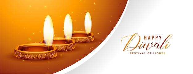 Bella felice diwali oro e banner design bianco