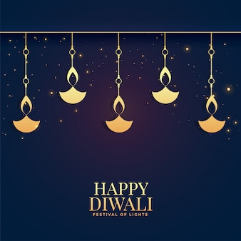 Lovely happy diwali golden diya  background