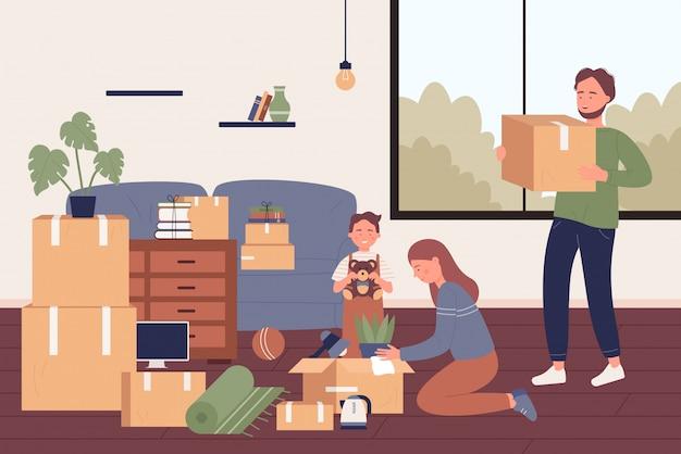 새 아파트 평면 그림으로 이동 사랑스러운 행복한 가족. 부모와 아들 캐릭터는 큰 창문이있는 밝은 방에서 골판지 상자에서 물건을 풀고 있습니다. 재배치 과정.