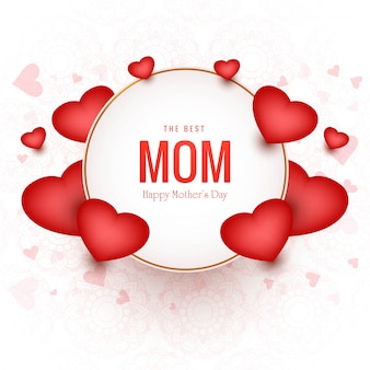 Lovely happy mothers day card with hearts background