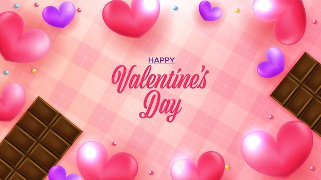 하트와 초콜릿 사랑스러운 해피 발렌타인 배경