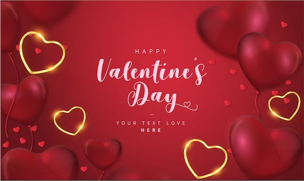 Lovely happy valentine's day background with hearts