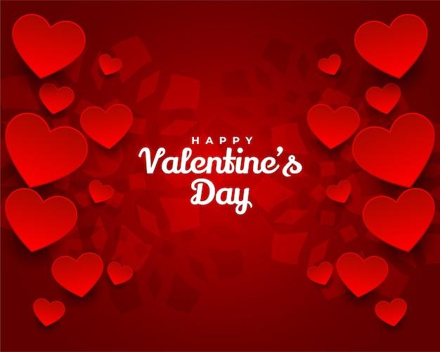 Cuori rossi adorabili di giorno di biglietti di s. valentino felici