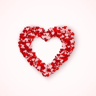 Lovely heart рамка из маленьких красных и розовых сердечек. ощущение любви в ст. день святого валентина