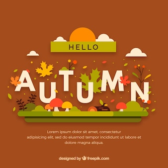 Lovely hello autumn composition with flat design