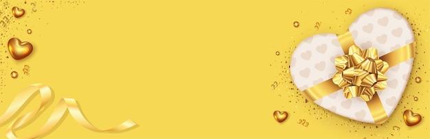 Прекрасный праздник романтический баннер с реалистичным дизайном подарочной коробки