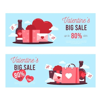Lovely horizontal valentine's day sale banners