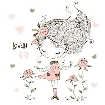 Lovely is a little girl with flowers of roses.