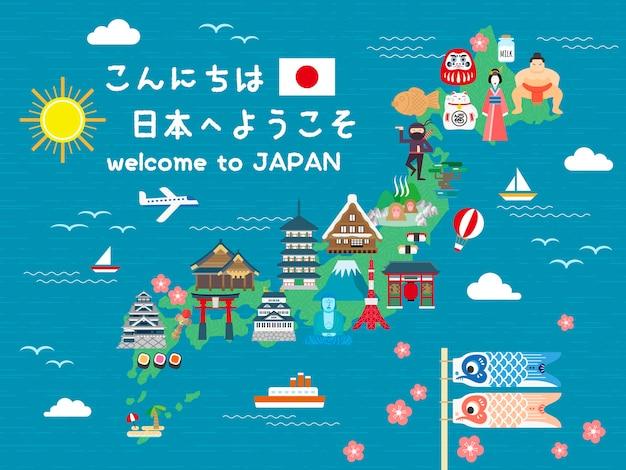 Прекрасная карта путешествий по японии привет и добро пожаловать в японию на японском языке