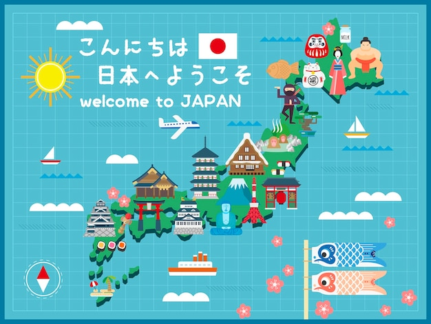 Lovely japan travel map hello and welcome to japan in japanese