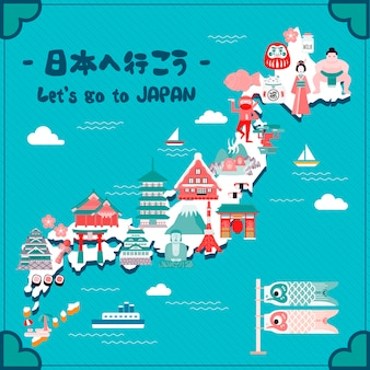 Lovely japan travel map let's go to japan in japanese