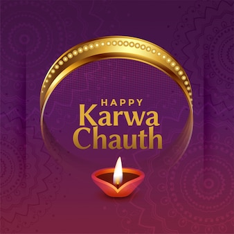 Lovely karwa chauth indian festival greeting with decorative elements