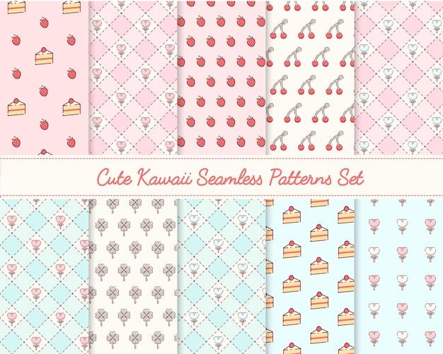 Lovely kawaii seamless patterns set premium vector
