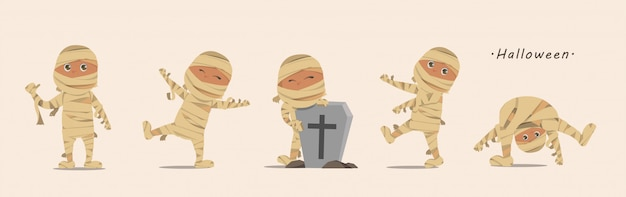 Lovely kids in halloween mummy costumes.
