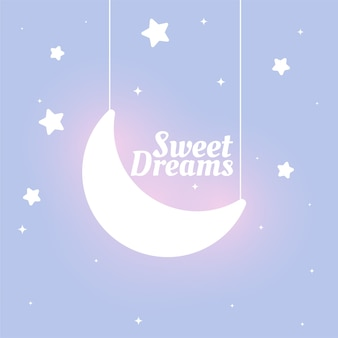Lovely kids style sweet dreams moon and stars background