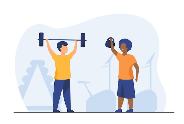 Lovely kids training in gym together. dumbbell, child, health flat  illustration. cartoon illustration