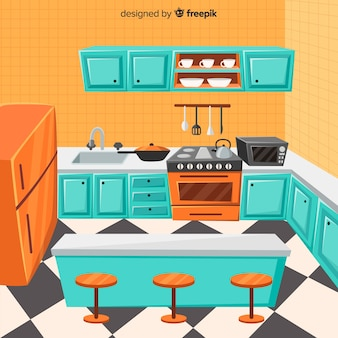 Lovely kitchen interior with flat design