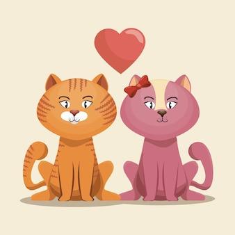 Симпатичные котята розовые и желтые с сердцем