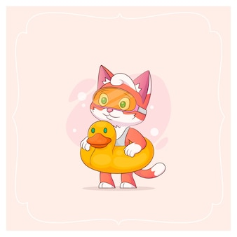 Lovely kitty in a mask for dashing. vector illustration from a series funny pets