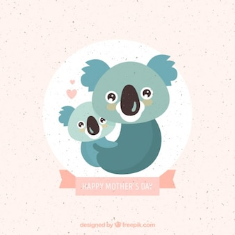 Lovely koala mother with baby background