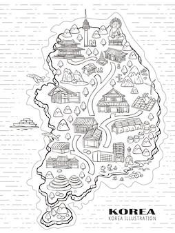 손으로 그린 스타일의 사랑스러운 한국 여행 개념 지도