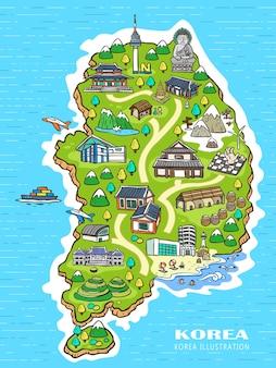 手描きスタイルの素敵な韓国旅行コンセプトマップ