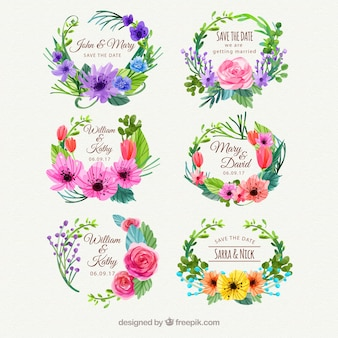 水彩の花のスタイルと素敵なラベル