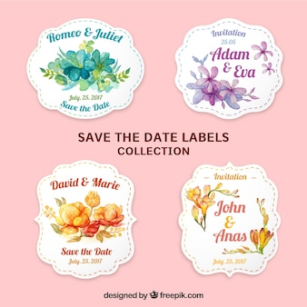 Lovely labels with watercolor flowers