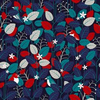 파란색에서 아름 다운 잎 원활한 패턴 배경