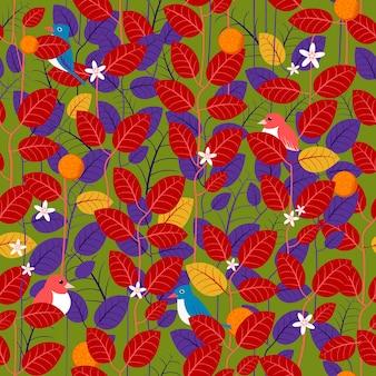 Прекрасный лист бесшовный фон фон в красном