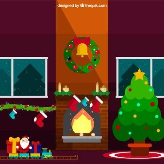 크리스마스 장식품으로 사랑스러운 거실