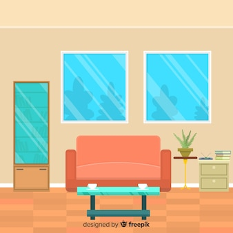 Lovely living room with flat design