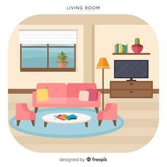 Прекрасная гостиная с плоским дизайном