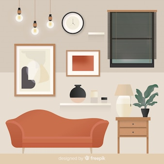 Lovely living room with flat design Free Vector