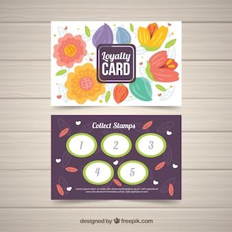 Modello di carta fedeltà adorabile con disegno floreale