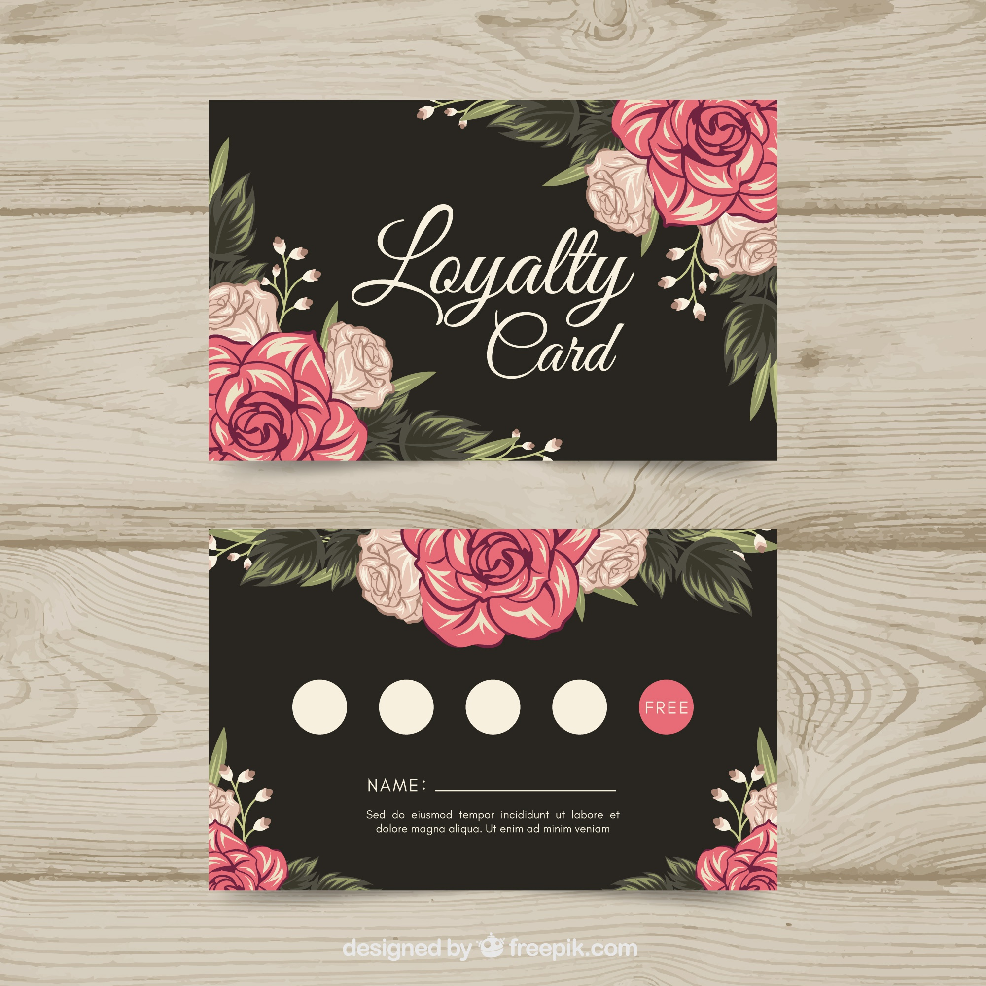 Lovely loyalty card template with floral style