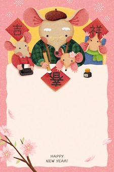 Lovely lunar year illustration with copy space grandpa rat writing calligraphy with spring