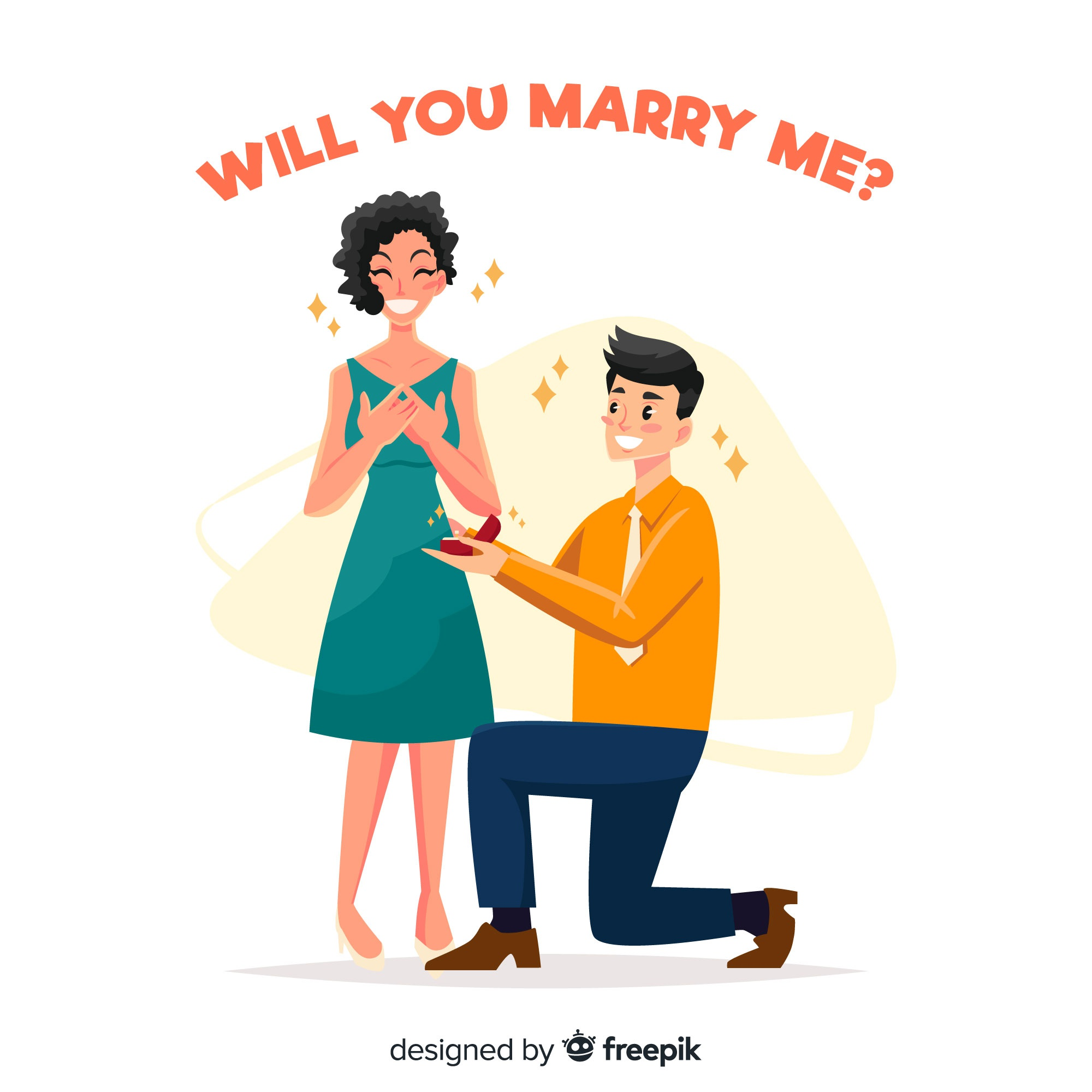 Lovely marriage proposal composition with flat design