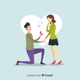 Прекрасное свадебное предложение с мультяшным стилем